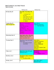 successfully-completed training weeks, denoted by a colourful spreadsheet