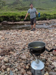 Cooking dinner in the creekbed