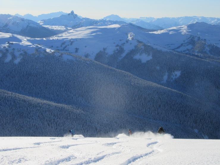 Black dusk + skiers