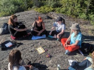 Evening kirtan on the rocks